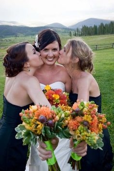 Let's all kiss the bride. Devil's Thumb Ranch Wedding
