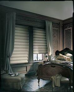 Rooms I LOVE! Love Love Love these muted colors! Hunter Douglas Alustra® Vignette® Modern Roman Shades Dreamy Traditional Bedroom Interior Design #Hunter_Douglas #Bedroom #Window_Treatments