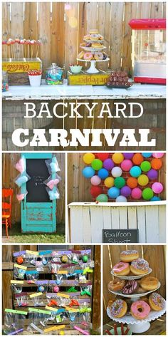 What a fun backyard carnival boy birthday party with cotton candy, donut holes on a stick, and fun activities!