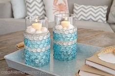 DIY Chic Coastal Colored $1 Store Candle Vases !