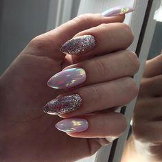 50 Stunning Designs For Almond Nails You Won't Resist Nail Idea 29 Acrylic Nail Designs, Nail Art Designs, Bridal Nail Art, Almond Nails Designs, Almond Shape Nails, Cute Almond Nails, Studded Nails, Oval Nails, Winter Nail Designs