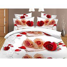 shuian® peřinu set, 4 ks oblek 3d olejomalba ložní soupravy bavlněné vytisknout povlečení ložní prádlo sady listů – USD $ 29.99
