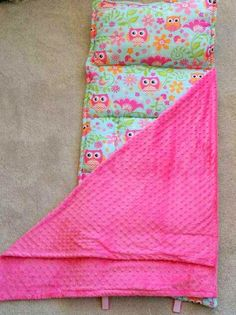 Girl Sleeping Mat, Nap Mat. Use for school, daycare, sleepovers. Owls, Pink and Orange. Full Size Hot Pink Minky Blanket and Built in Pillow. USA Made by Elonka Nichole Designs www.elonkanichole.com