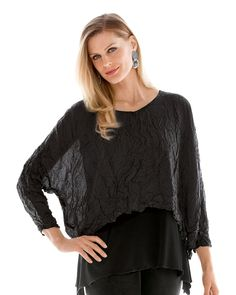 Crushed Silk Top by Carol Lee Shanks. This elegant top in crushed silk habutai is a thrilling find: not only does it look like a million bucks, it also has the comfort of a favorite tee shirt.