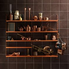 string® pocket, designed by nils strinning the smallest model of the classic string® shelf. IN COPPER. Copper Shelving, Copper Shelf, Modern Shelving, Copper Pots, Shelving Ideas, Metal Shelves, Storage Ideas, String Pocket, Copper Furniture