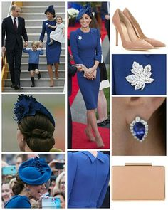 ◇24 September 2016◇ □ Outfit info □ The Cambridges' royal tour of Canada begin in style when the family arrived in Victoria on a Canadian Air Force plane.The Duchess selected a bespoke blue fitted dress by go-to designer Jenny Packham. It's a beautifully crafted garment with gathered shoulders, a belt, and detailing at the collar and back. It's often been discussed on this blog how important tailoring is, and in this instance we're seeing a perfectly tailored garment. Kate's choice of blue…