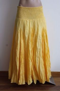 Grace-Elements-Full-Circle-Skirt-Gypsy-Boho-Hippie-Yellow-Crinkle-Skirt-Size-S