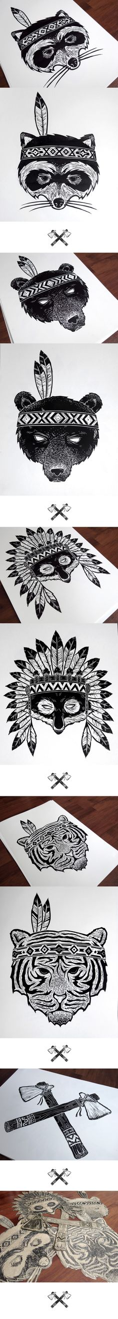Lino Cut Indians on Behance