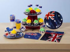 2014 Australia Day range of party tableware, plates, cups, cupcake stand, balloons, tablecloths and more in The Reject Shop