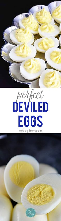 Deviled Eggs Recipe - Deviled eggs make the perfect appetizer or side dish for family meals, parties, showers, and other events. Get this family favorite deviled eggs // addapinch.com