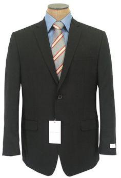 Joseph Abboud Mens 2 Button Flat Front Solid Black Wool Suit « Clothing  Impulse d7b396d3962