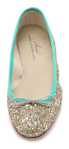 love these gold and green ballet flats