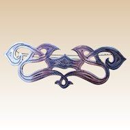 Edwardian sterling silver barrette 1906-7 English hair accessory hair slide