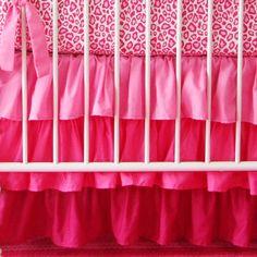 Dark pink ruffle crib skirt