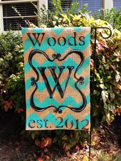 Burlap Garden Flag Scroll Monogram Established by ModernRusticGirl, $25.00
