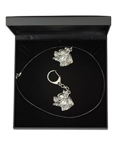 NEW, American Staffordshire Terrier (with collar), dog keyring and necklace in casket, DELUXE set, limited edition, ArtDog ** Be sure to check out this awesome product.