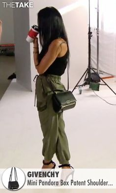 Givenchy Mini Pandora Box Patent Shoulder Bag as seen on Kourtney Kardashian in…
