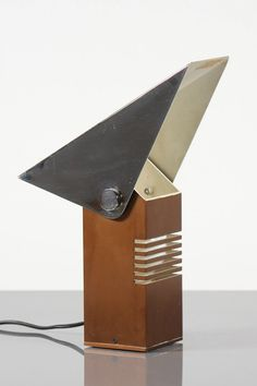 Bruni Gambarotto; Chromed and Enameled Metal Table Lamp for Sculture Luminose, 1970s.