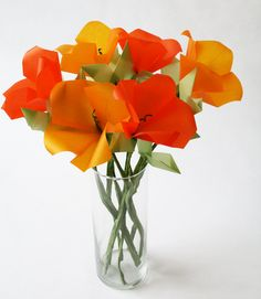 California Poppies Origami Flower Bouquet