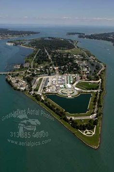 Aerial view of Belle Isle in Detroit, Michigan, by Great Lakes Aerial Photos. Belle Isle is larger than Central Park, NYC. It was designed by Frederick Law Olmstead, who also designed Central Park.