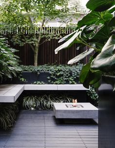 An outdoor fireplace ensures this terrace garden remains a destination, even in the cooler months. Clever use of space and a green-on-green palette has transformed this inner-city terrace into a private oasis courtesy of Lisa Ellis Gardens. Terraced House, Outdoor Rooms, Outdoor Gardens, Outdoor Living, Modern Gardens, Outdoor Patios, Outdoor Kitchens, Small Gardens, Indoor Outdoor
