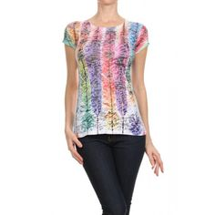 Graphic, burnout, round neckline, short sleeve, top.