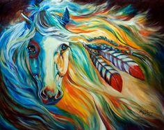 Indian War Horse   INDIAN WAR HORSE ~ BREAKING DAWN ~ 30 X 24 original oil painting by ...