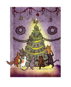 Cats Christmas Greeting Card Cat Art Cats by tylersworkshop, $3.50