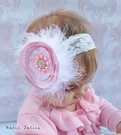 The Grace Headband Pink pearl and lace Elegance by KutieTuties infant, toddler, 1st birthday, birthday, newborn, baby, girl cake smash, wedding flower girl