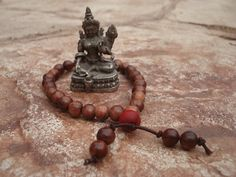 Mala Bracelet Rosewood Beads 27 Beads by MakeMeSmileJewelry,