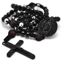 Black Crystal Pave Genuine Round Onyx Beads Cross Rosary Men Chain Necklace 37""