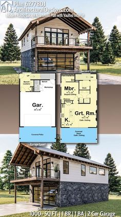Container House Discover Plan Modern Rustic Garage Apartment Plan with Vaulted Interior Architectural Designs Home Plan gives you 1 bedrooms 1 sq. plus a 2 Car Garage! Where do YOU want to build? Garage Apartment Plans, Garage House Plans, Garage Apartments, Small House Plans, House Floor Plans, Car Garage, Dream Garage, Tiny Home Floor Plans, Tiny Cabin Plans