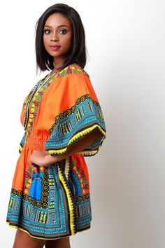 Fashion National Style Retro Printing Waist With Elastic Cord S XL Dress African Dashiki, African Dress, Striped Maxi Dresses, Mini Dresses, Short Dresses, Long Summer Dresses, Dress Long, Affordable Dresses, Affordable Fashion