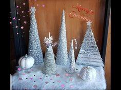 DIY como hacer 4 arboles de navidad con papel de aluminio en diferentes formas - YouTube Cone Trees, Cone Christmas Trees, Handmade Christmas, Christmas Crafts, Christmas Decorations, 85th Birthday, Birthday Parties, Navidad Diy, Christmas Time Is Here