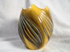 Yellow and Green Vase-Pottery Vase-Royal Haeger Egg Shaped Vase # 4032.S-Mid Century Vase by BCScollectibles on Etsy