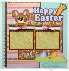 Premade Scrapbook Page Layout Paper Piecing 12x12 Easter Bunny Boy Girl Handmade Elite4U. $18.99, via Etsy.