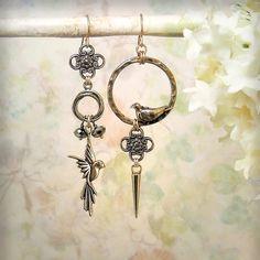 Sanctuary - OOAK Bird Earrings, Natural Bronze Bird Jewelry, Asymmetrical Earrings, Bohemian, Boho, Bird Art Earrings, Garden Wedding, Statement Earrings, by MiaMontgomery at Etsy