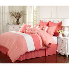The lovely shade of Coral this 8 Piece Set displays is nothing short of delicate class. Including Euro shams, pillow shams, a bed skirt, and accent pillows; allow this set to revamp your bedroom.