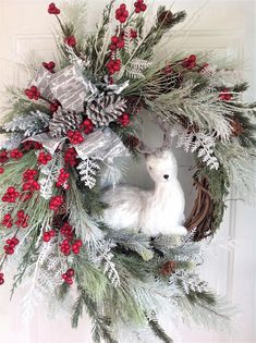 Christmas Wreath For Front Door, Winter Door Wreath, Country Christmas Wreath With Deer, Woodland Winter Wreath, Winter Wreath With Deer - Front Door Ideas Front Door Christmas Decorations, Christmas Front Doors, Christmas Door Wreaths, Front Door Decor, Holiday Wreaths, Winter Wreaths, Winter Decorations, Mesh Wreaths, Fall Decor
