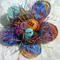 Crazy coloured patchwork brooch by threadspider on Etsy