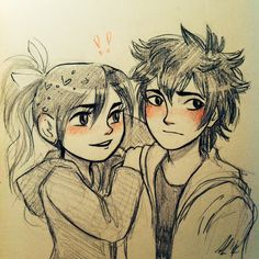 Venelope and Hiro :)>>>>>>OKAY WOAH WOAH WOAH! HOLD UP! Are you guys starting a new ship now? Seriously?! This is basically how these things start. You draw a picture and people like it. And they want more then BAM! YOU HAVE A SHIP. It is kinda random :\ and i do not think i ship this.