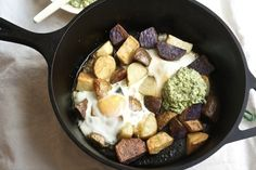Crispy Potatoes With Baked Eggs And Pesto Yogurt | 30 Easy One-Tray Oven Dinners