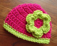 Crocheted Baby Girl Hat with Flower Shower by KaraAndMollysKids, $15.50