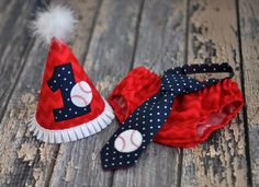 Boys Birthday Party Hat, Diaper Cover, Tie - First Birthday, Smash Cake Pics, Photo Prop - Baseball Navy Blue, Red, White Chevron Dots All Star