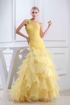 Mermaid One Shoulder Organza Gold Bridal Wear Pleats Yellow Bridesmaid Dresses, Colored Wedding Dresses, Bridal Dresses, Winter Prom Dresses, Evening Dresses, Custom Wedding Dress, Custom Dresses, Formal Dresses Online, Dress Online