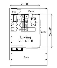 First Floor Plan of A-Frame   House Plan 86952 - 21' x 24', Maybe we could downsize it?  I like the layout with the bottom split in half for living area and kitchen/bathroom, the stairs in the middle with 2 bedrooms upstairs on either side of the stairs.