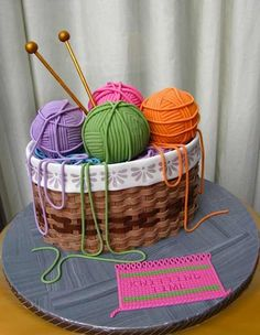 """Cake Wrecks - Home - Sunday Sweets Gets Crafty - several """"craft"""" themed cakes; no info; just pictures Gorgeous Cakes, Pretty Cakes, Cute Cakes, Amazing Cakes, 3d Cakes, Cupcake Cakes, Pink Cakes, Knitting Cake, Sewing Cake"""