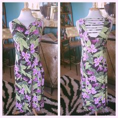 Vintage 1940s style Dress Black Purple Tropical Floral Swing Rockabilly S M 40s #RK #Hawaiian