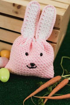 Give an Easter gift in style this year with this cheery crocheted bunny gift bag. Fill it with goodies, then draw it closed with yarn or a ribbon.