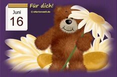 June 16, Juni, Teddy Bear, Night, Toys, Day Of Year Calendar, Gif Pictures, Working Holidays, February